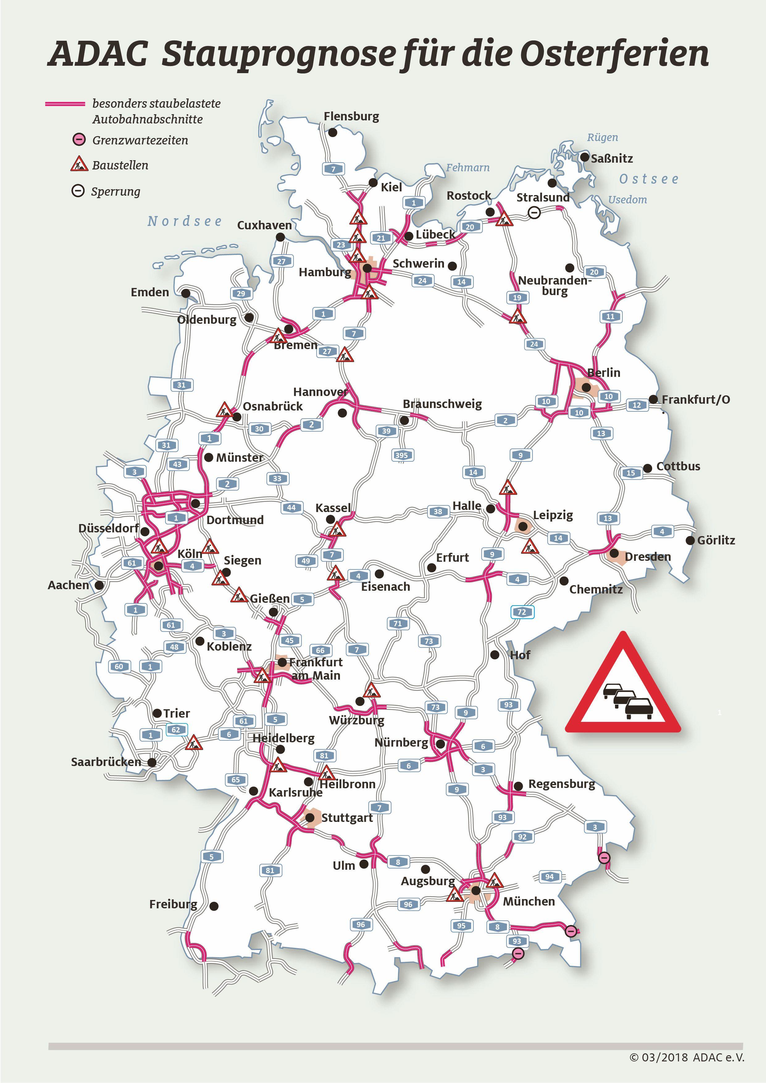 Stau Karte.Adac Thüringen Zeigt Die Staus Zu Ostern In Thüringen
